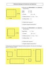 Flächenberechnungen bei Rechtecken und Quadraten