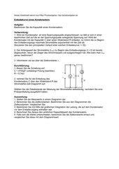 Arbeitsblatt Entladekurve eines Kondensators