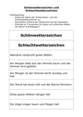 Schönwetterzeichen/Schlechtwetterzeichen