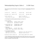 Prüfung Negative Zahlen mit Lösung