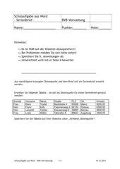 Schulaufgabe Serienbrief mit Auswahlabfrage
