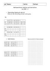 Mathetest Addition und Subtraktion bis 1000