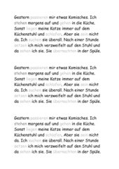 Hauptschule - Arbeitsblatt Klasse 5 - Präteritum