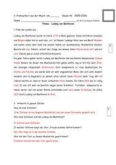 Probearbeit: Ludwig van Beethoven mit Lösung