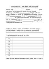 Arbeitsblatt und Test mit Lösungen - Hauptschule Klasse 5 - Einführung Domains