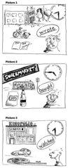 Simple Past - Sätze bilden nach Zeichnungen
