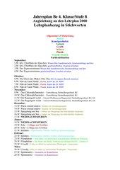 Jahresplan 4 KL./Stufe 8