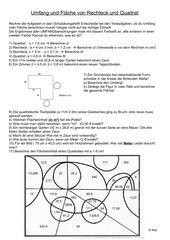 Umfang und Flächeninhalt: Rechteck und Quadrat (Rechnen und Malen)