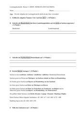 Sachkunde Klasse 4 Leistungskontrolle (Mein Heimatland Sachsen)