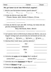 Wörterbuchtest, Klasse 2, NRW