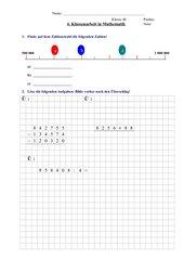 Klassenarbeit nach der Erweiterung des Zahlenraumes bis zur Million