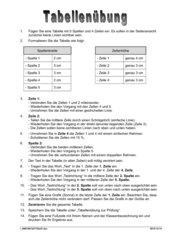 Tabellenübung nach Anweisung
