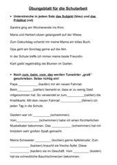 Übungsblatt: Subjekt/ Prädikat und Groß-/Kleinschreibung