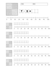 Multiplikation am Hunderterfeld  verknüpft mit Zahlenstrahl
