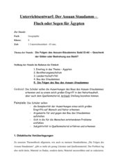 Stundenausarbeitung Assuan Staudamm (inklusive Arbeitsblätter)