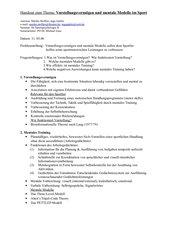 Sportpsychologie: Referat zu Vorstellungsvermögen/mentale Modelle