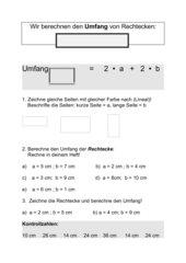 Umfang und Fläche von Rechtecken - Übungen