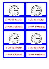 Viertel - Stunden - erkennen - Legematerial
