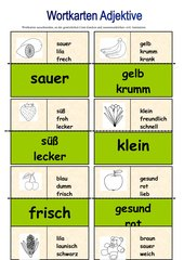 Wortkarten zu den Adjektiven