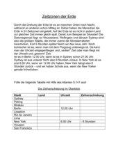 Zeitzonen der Erde - Klasse 5 (HS)
