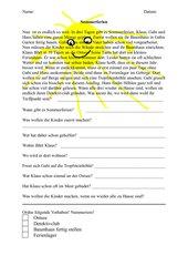 Sommerferien, Sinnerfassung,Lesetext für Klasse 2