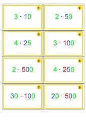 48 Montessori-Aufgabenkärtchen Multiplikation mit Selbstkontrolle, Jgst. 5-7