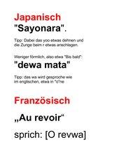 Auf Wiedersehen in verschiedenen Sprachen