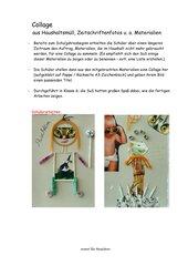 Collage aus Haushaltsmüll, Zeitschriftenfotos u. a. Materialien