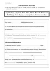 Einkommen des Haushalts - Wirtschaftslehre 7.Kl.