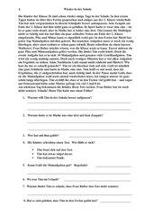 Wieder in der Schule, Lesetext mit Aufgaben zur Sinnerfassung Klasse 3