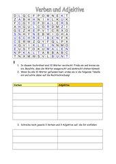 Suchrätsel Verben und Adjektive