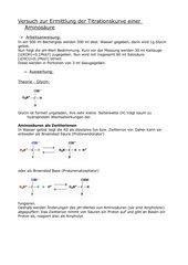 Versuch zur Ermittlung der Titrationskurve einer Aminosäure