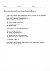 Informationsbeschaffung zum Haushaltsbuch