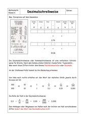 Merkblatt zur Einführung der Dezimalschreibweise