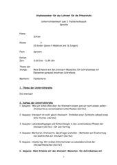 Unterrichtsentwurf kreatives Schreiben zum Thema Steinzeit, Klasse 3