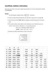 Schriftliche Addition/Subtraktion in Tabellenform/ Kl. 5 bis...