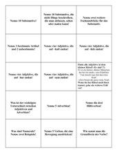 Wortarten - Ereigniskärtchen für Brettspiel