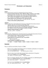 Wortarten und Satzarten - ein Merkblatt