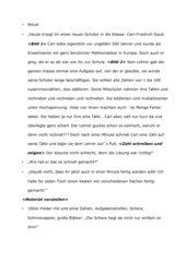 Unterrichtsentwurf zur Gauß´schen Summenformel, Klasse 4