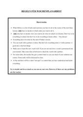 Englische Regeln für einen Wochenplan