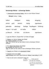 Arbeitsblatt zum Identifizieren schwieriger Stellen in Wörtern in Klasse 5 (Bezug Lehrwerk: Doppel-Klick 5)