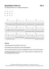 Gitarrenakkorde für:  Blues In A - Begleitung Teil 1, Teil 2, Bassläufe