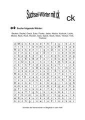 Suchsel - Wörter mit ck