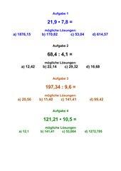 Kopfrechnen: Überschlagen bei Multiplikation und Division von Dezimalzahlen