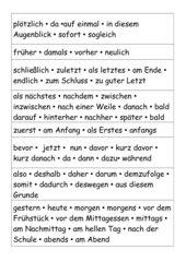 Wortkarten: Satzanfänge / Wortfelder