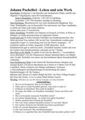 Pachelbel - Arbeitsblatt zu Leben und Werk