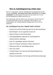 Informationen zum Ausbildungsvertrag