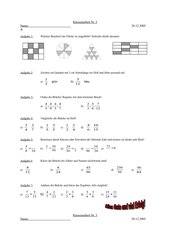 Klassenarbeit Brüche Klasse 6