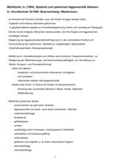 Prüfungsvorbereitung Gewalt/Aggression