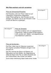 Memo-Spiel /  Zuordnungsspiel: Ernährungsweise der Pilze 6.KL
